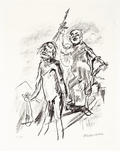 : Oskar Kokoschka, Geh, und ER sei bei dir da!, zu: Saul und David, 1963-68, Lithografie, 44 x 35,5 cm, © Fondation Oskar Kokoschka, Vevey / 2016, ProLitteris