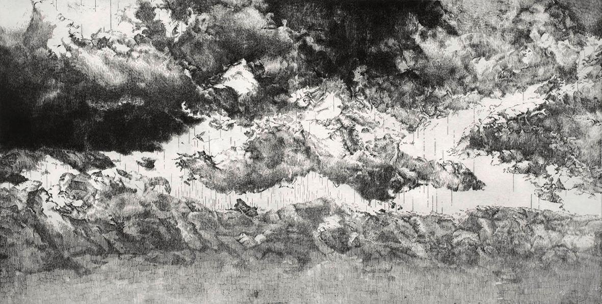 ORLANDO, Sehnung (Fragment II), seit 2010, Radierung, 90 x 175 cm