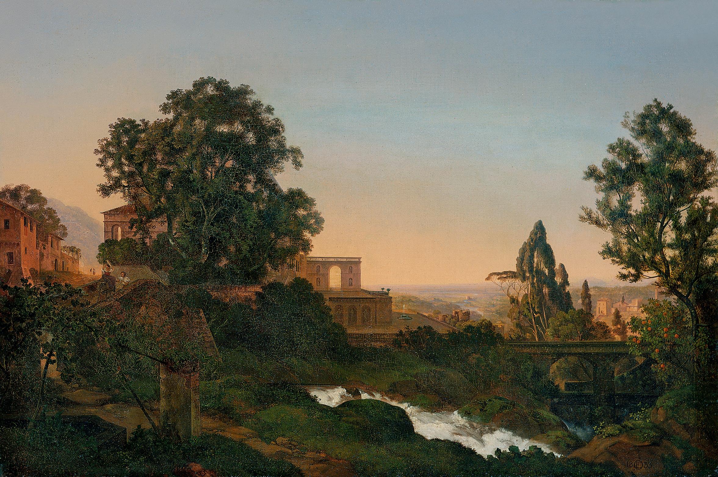Ernst Oehme, Villa d'Este in Tivoli. Staatliche Kunstsammlungen Dresden.