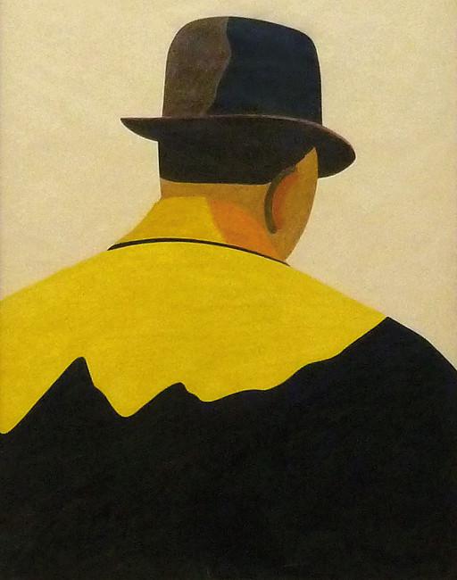 Eduardo Arroyo, Schauspieler, 1975, Farbstift auf gelbem Papier, 65 x 50 cm