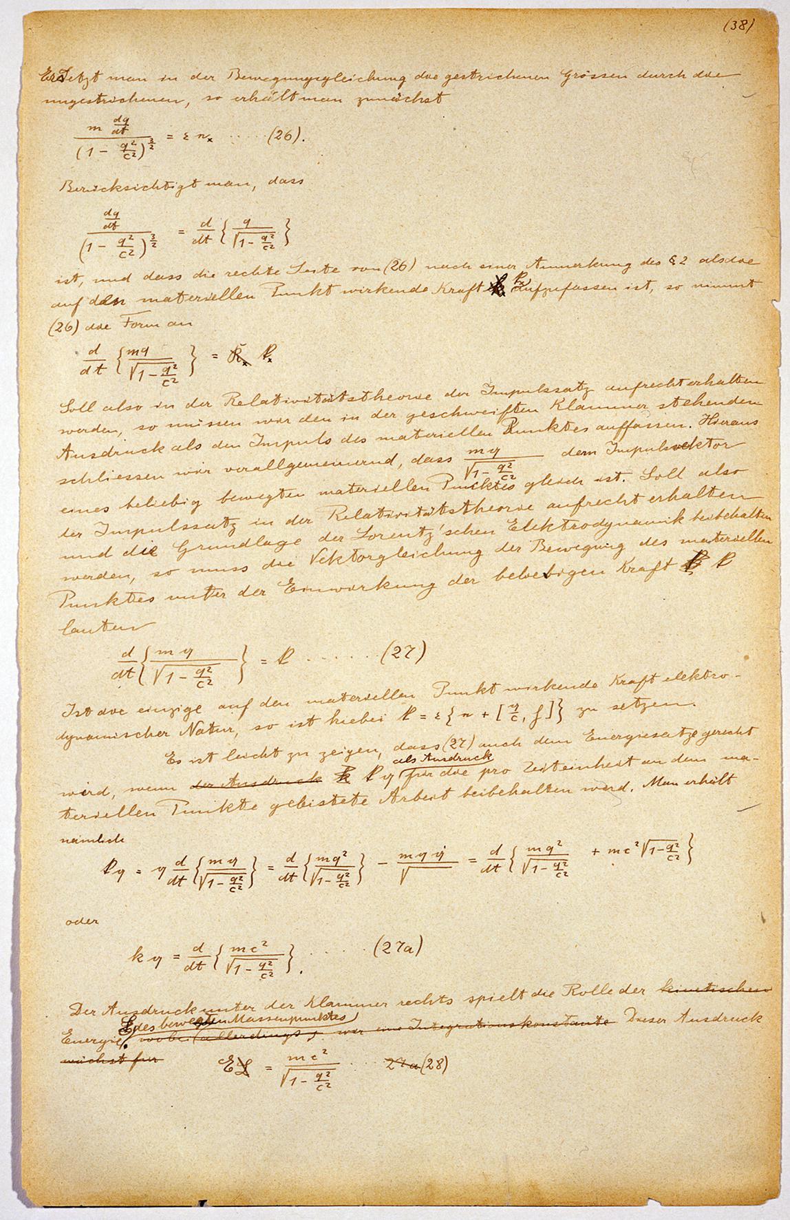 Albert Einstein. Manuskriptseite der speziellen Relativitätstheorie. 1912. Geschenk der Jacob E. Safra Philanthropic Foundation. © The Israel Museum, Jerusalem. Foto: Avshalom Avital