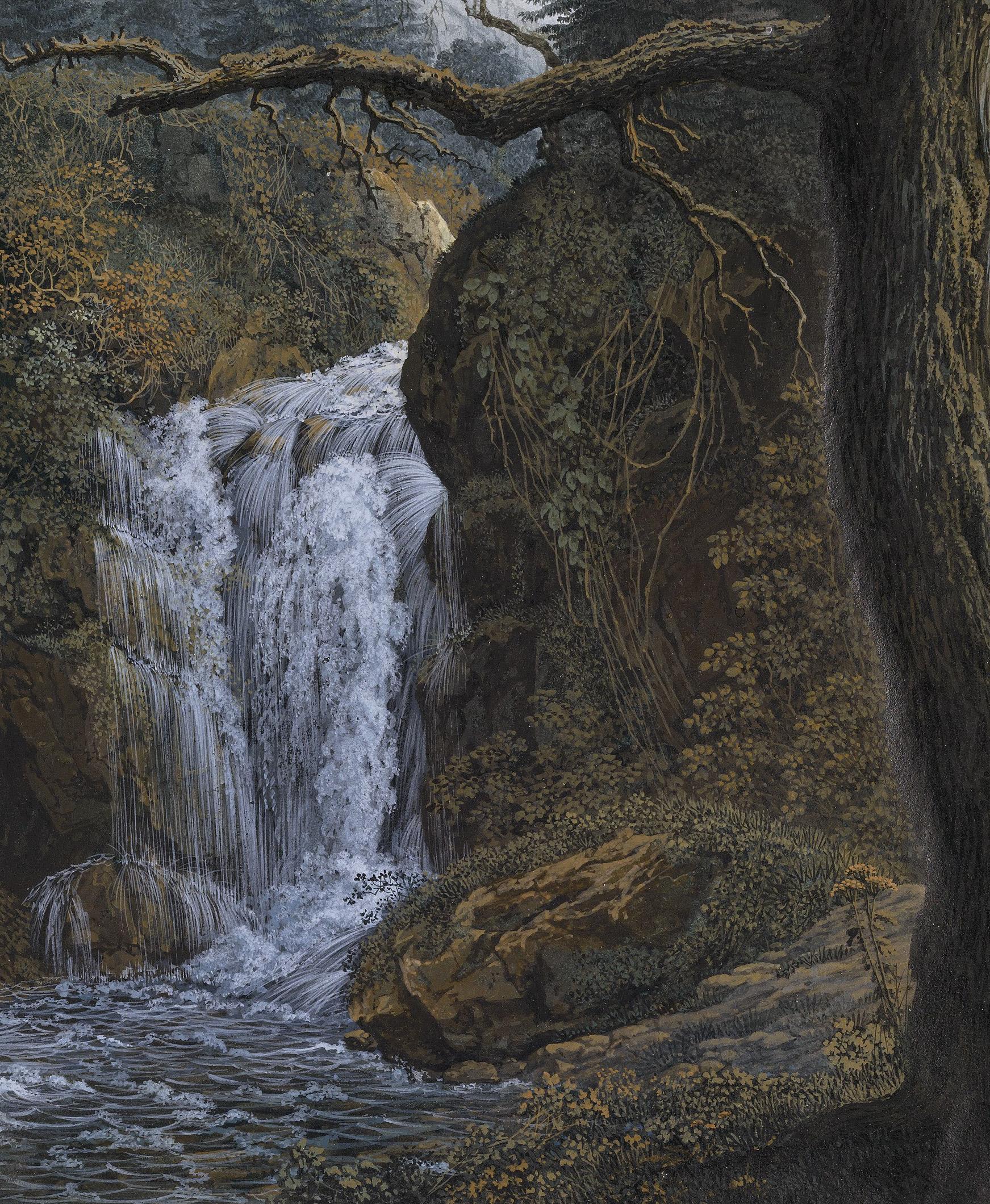 Carl Philipp Fohr (1795-1818): Der Wasserfall von Geroldsau, genannt die Bütte, Winter 1814/1815. Gouache, Aquarell, Deckweiß über Spuren von Bleistift, 188 x 155 mm. Privatsammlung. Foto: Johannes von Mallinckrodt, London