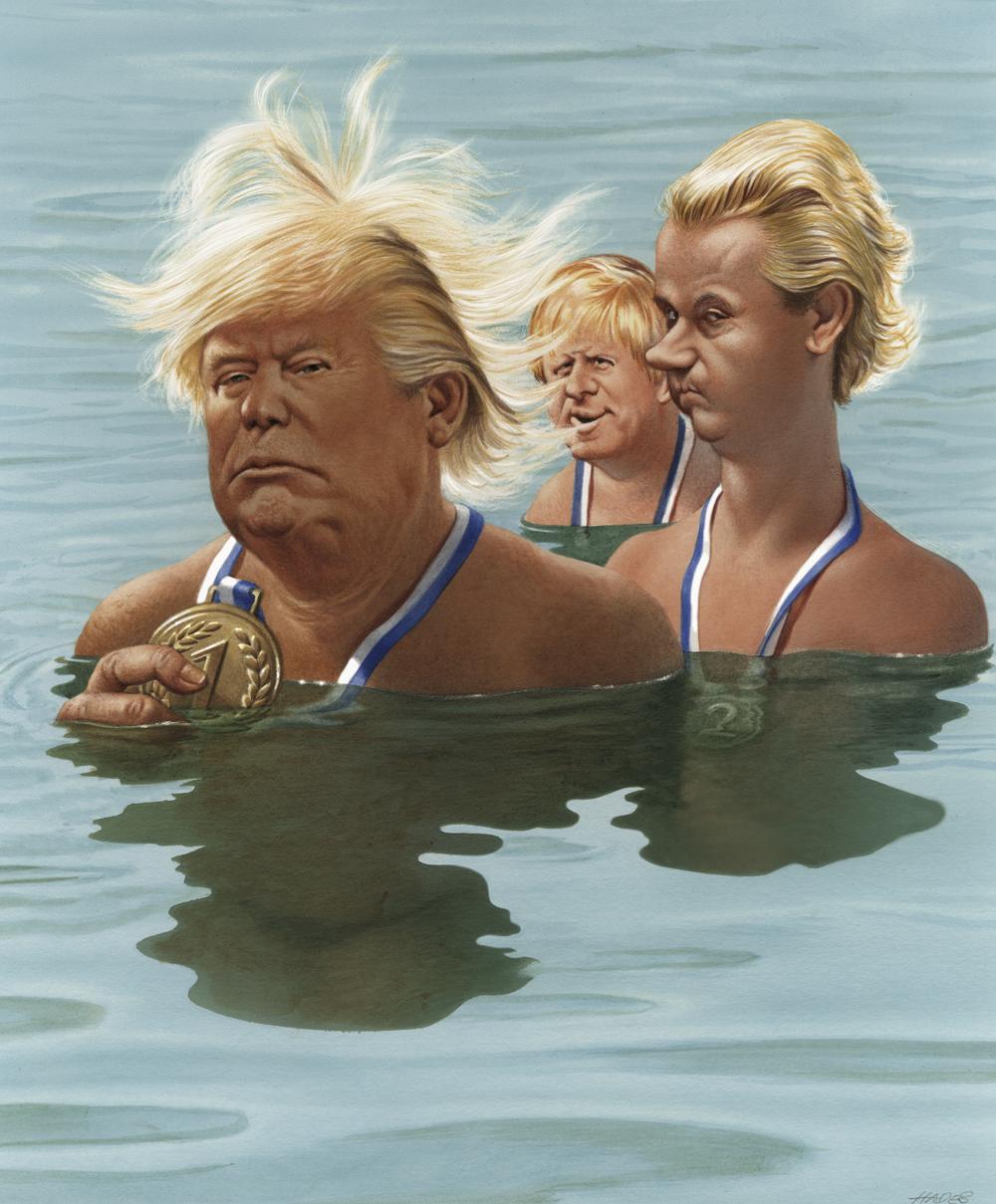 Gerhard Haderer, Sommerfrisuren-Contest 2016: Die USA siegen knapp vor Holland und Großbritannien, 2016, Privatbesitz. © Gerhard Haderer, 2017
