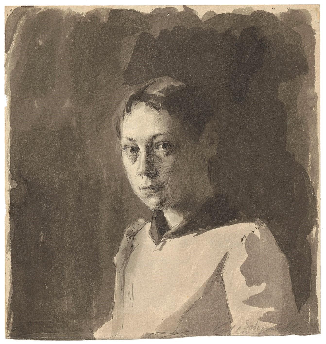 Käthe Kollwitz, Selbstbildnis (Ausschnitt), Feder und Pinsel in Sepia, um 1888, Nachlass Marianne Fiedler. © Käthe Kollwitz Museum Köln