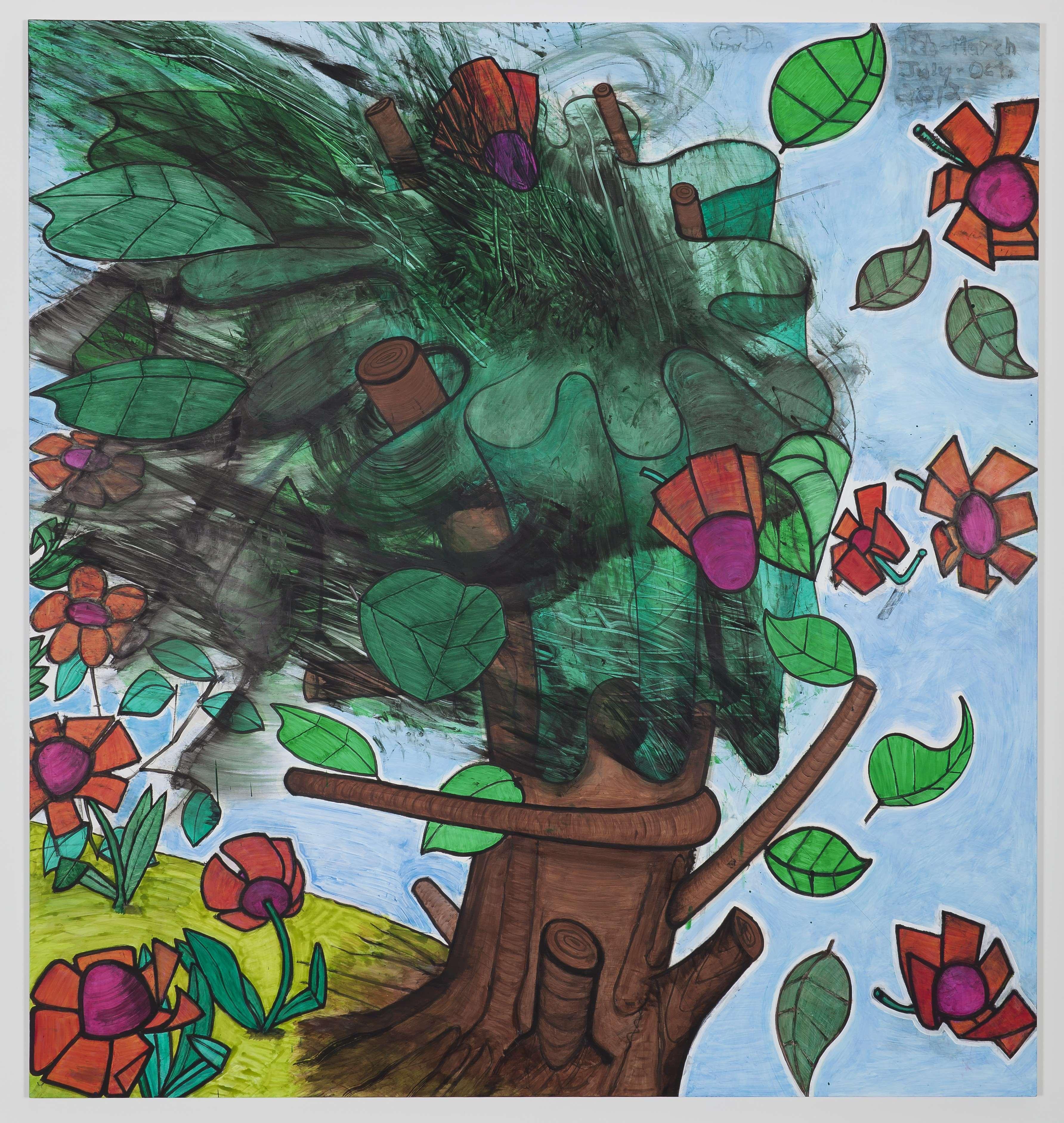 Carrol Dunham, Late Trees #5, 2012. Mischtechnik auf Leinen, 203,8 x 191,1 cm. Sammlung von Michael and Elin Nierenberg, Courtesy of the artist and Gladstone Gallery, New York and Brussels, Copyright Carroll Dunham