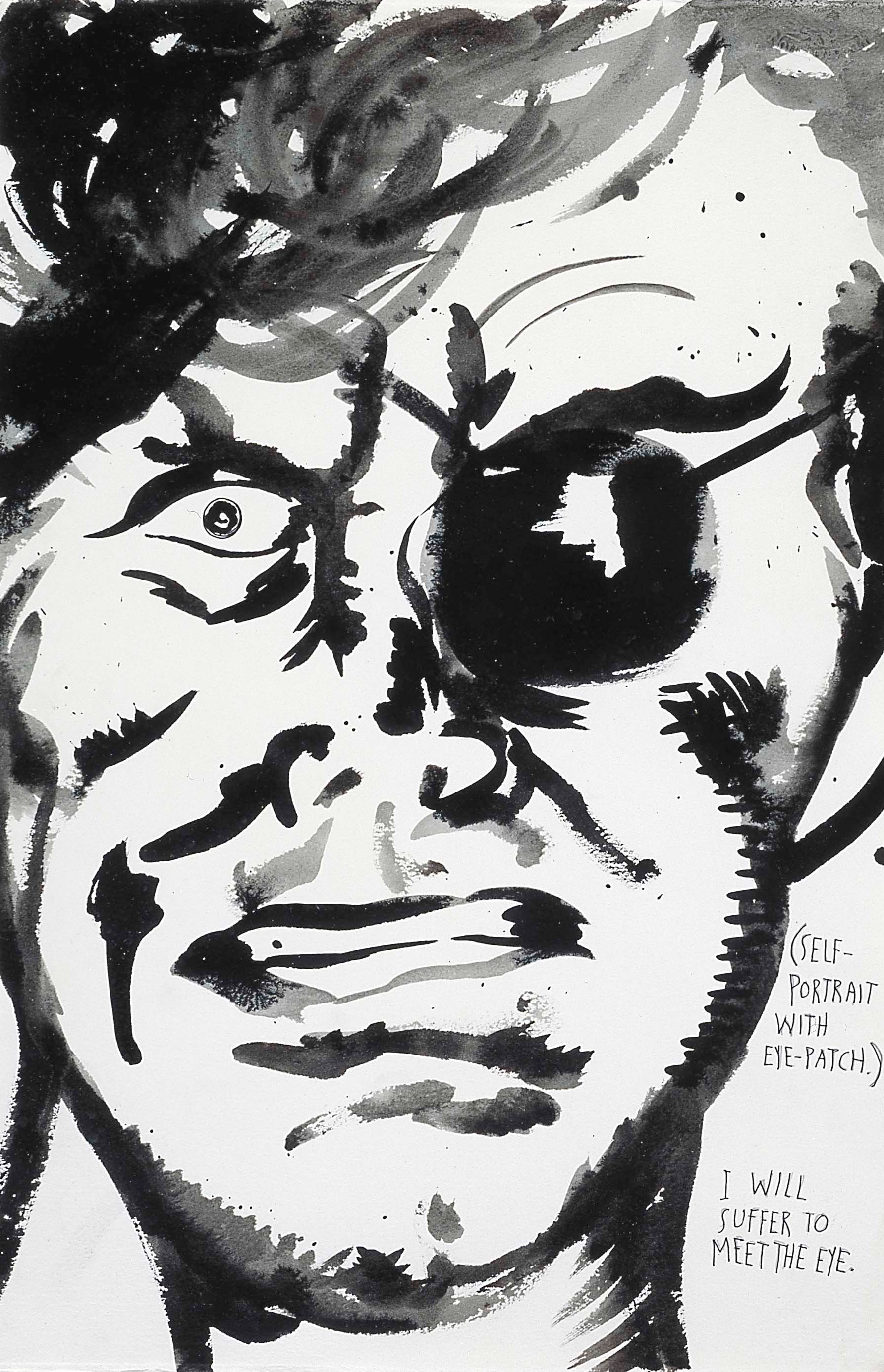 Raymond Pettibon: untitled (Self-portrait with eye-patch), 1998. Schreibstift und Tusche auf Papier. 57,1 x 38,1 cm. © Raymond Pettibon