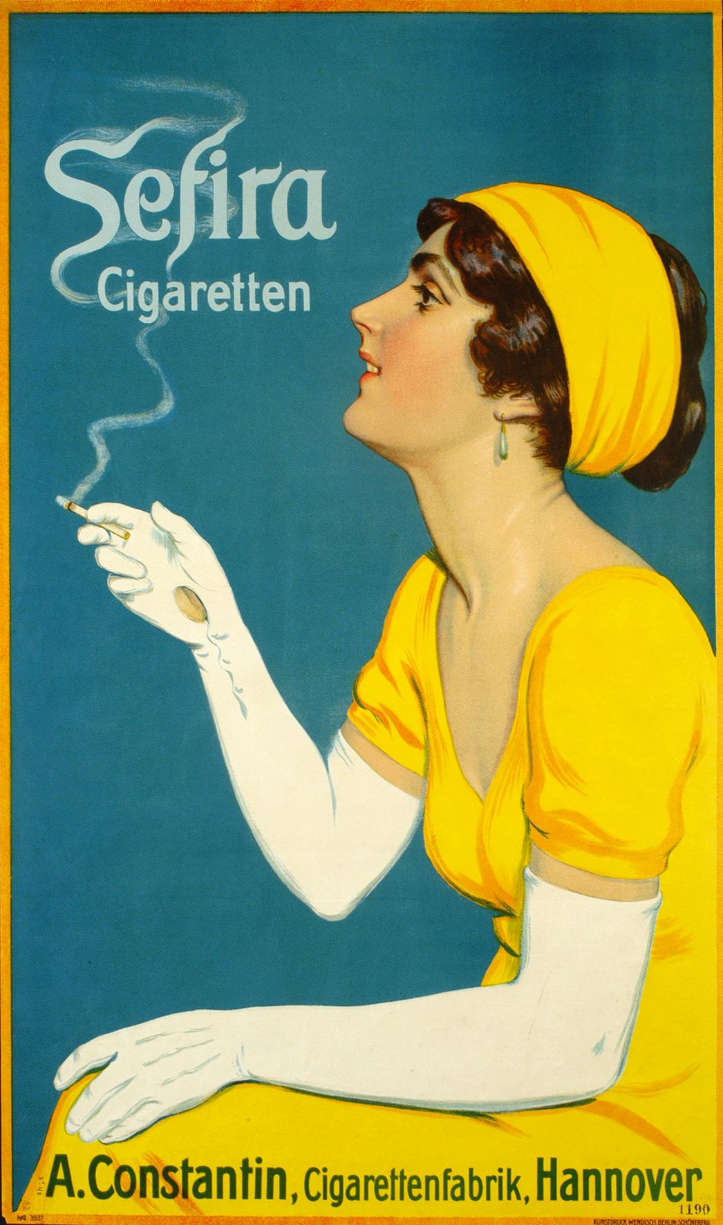 Plakat für Sefira Zigaretten, A. Constantin Zigarettenfabrik, Hannover, Entwurf Wendisch (Vorname unbekannt), 1912