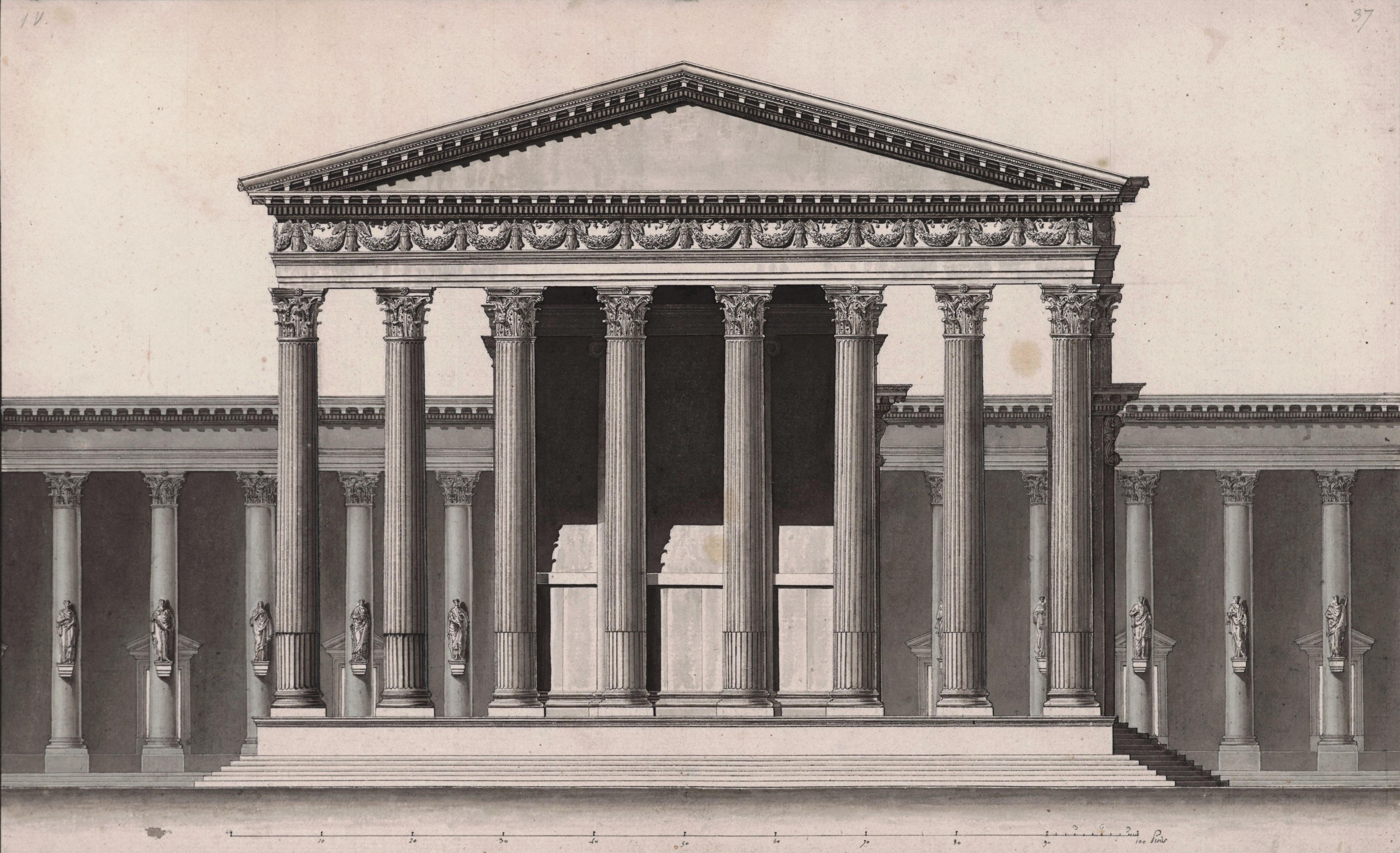 Louis François Cassas, Beltempel (Sonnentempel) von Norden, 1785, Feder in Schwarz, laviert, Wallraf-Richartz-Museum & Fondation Corboud, Köln