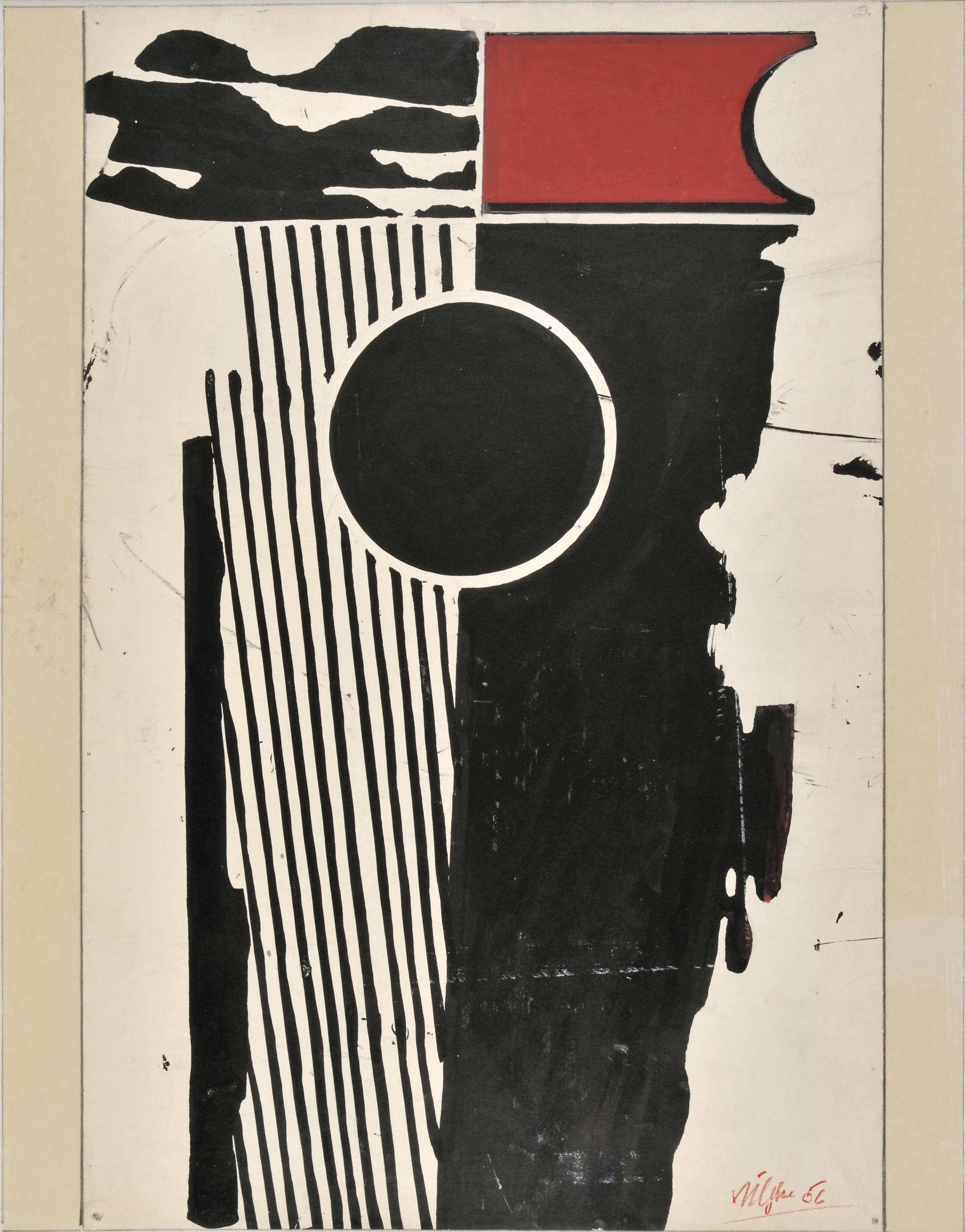 Harry Kögler: Schwarzer Block, 1956. Gouache, Graphit, Collage, 92,7 x 72,8 x 3,2 cm (Rahmenmaß). © Nachlass Harry Kögler
