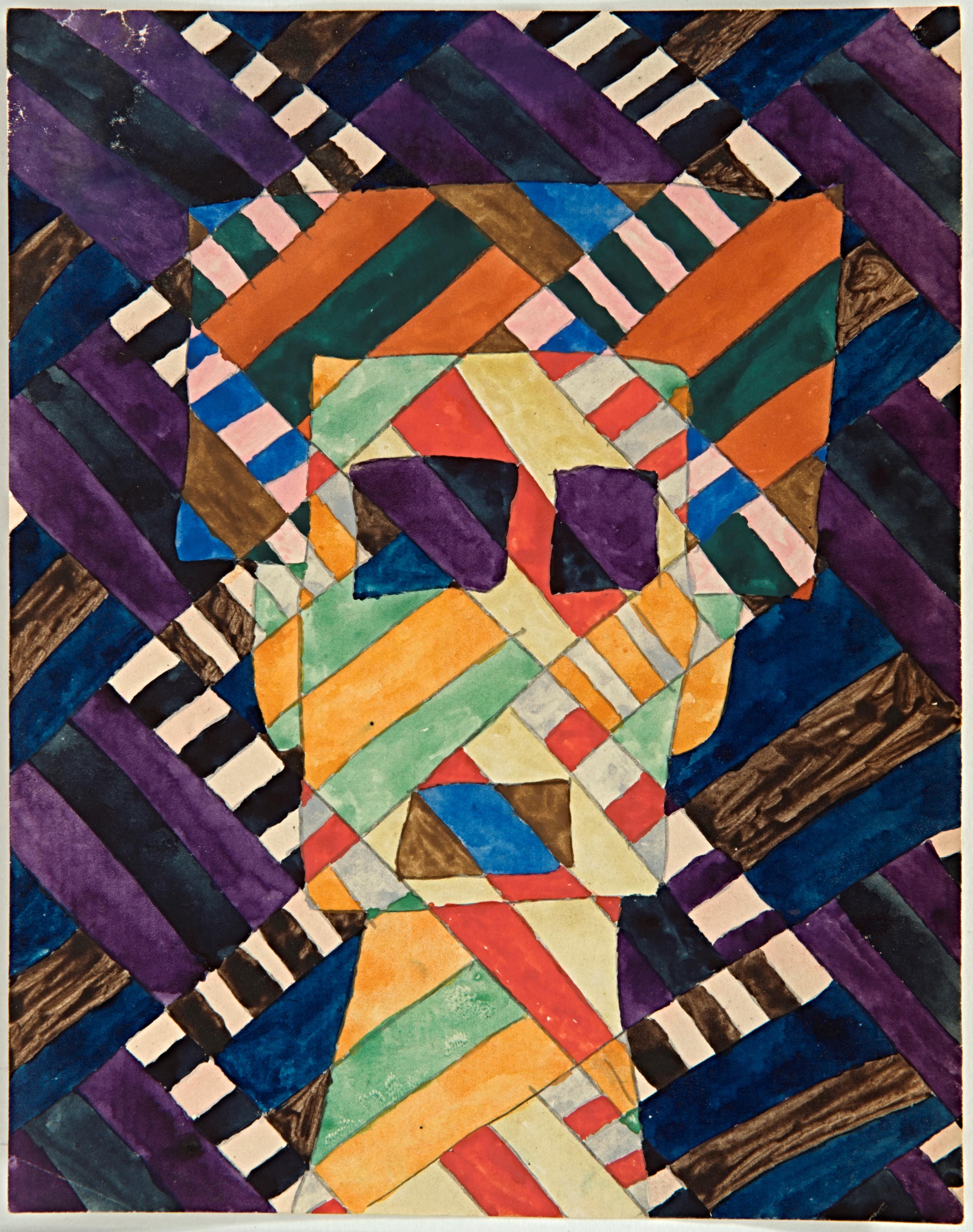Paul Goesch, Kopf mit Farbteilung, um 1920, Berlinische Galerie, Urheberrechte am Werk erloschen, Repro: Kai-Annett Becker