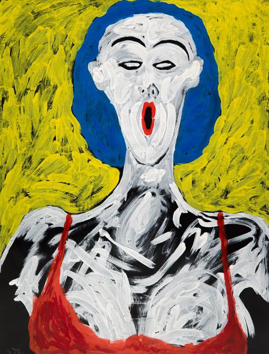 Karla Woisnitza (1952): Sängerin IV, (aus der Serie Sängerin I-IV), 1986, Gouache auf Papier; 63 x 48 cm, erworben 1991; Foto: Winfried Mausolf, Frankfurt (Oder)