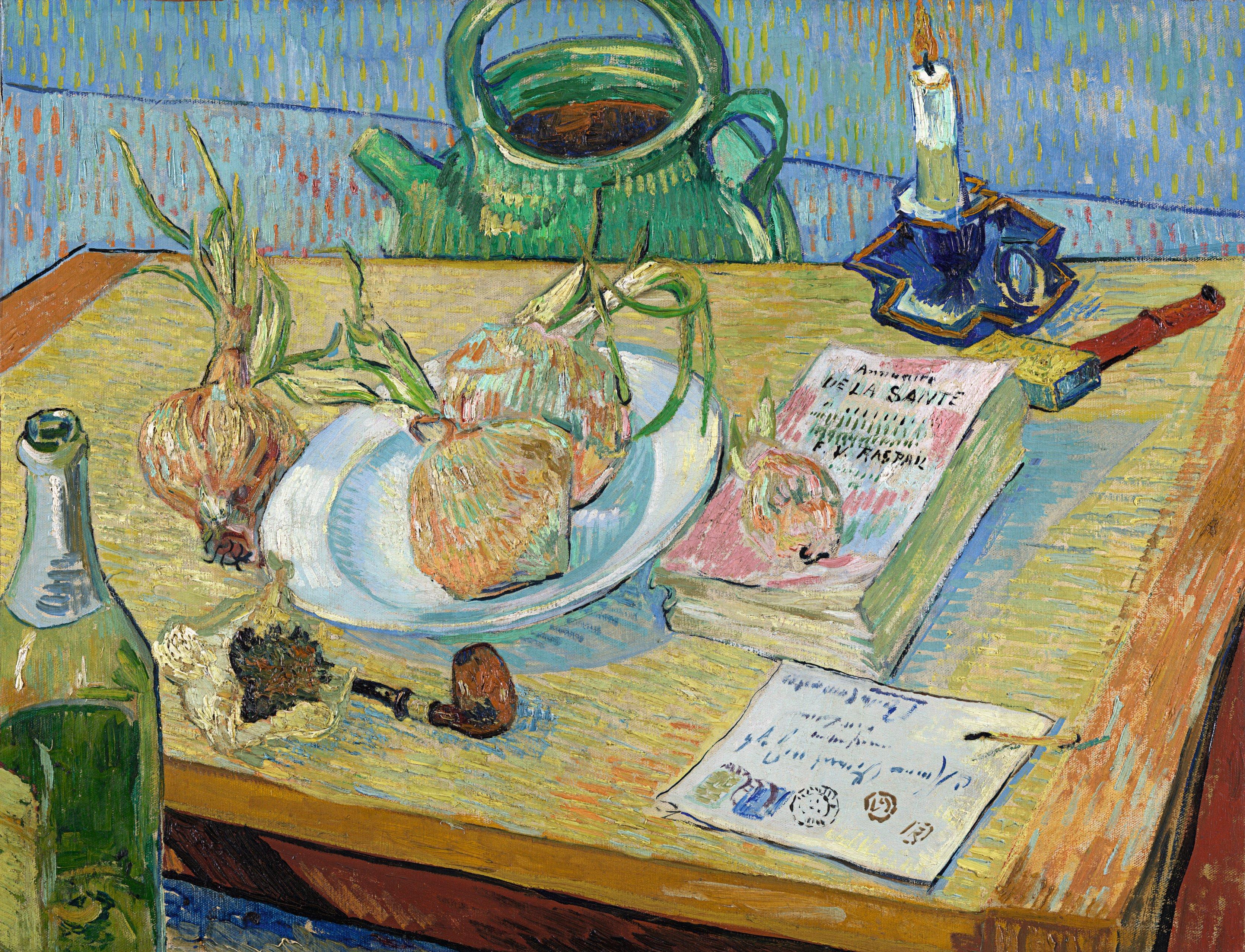 Vincent van Gogh (1853-1890), Stillleben mit einem Teller Zwiebeln, 1889, Öl auf Leinwand, 49,6 x 64,4 cm, Kröller-Müller Museum, Otterlo, Niederlande
