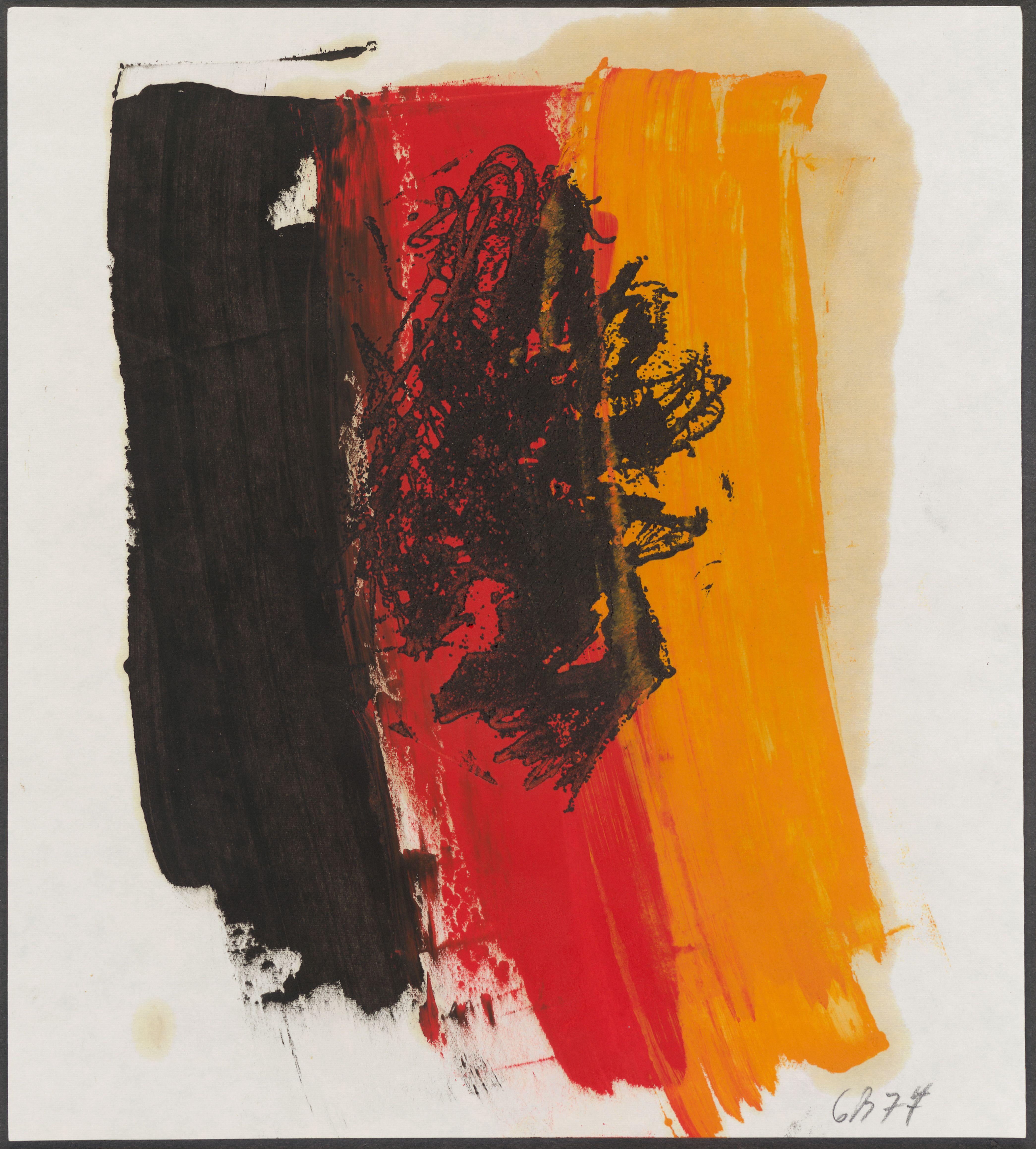 Georg Baselitz: Adler, 1977. Radierung, handkoloriert. Copyright Georg Baselitz, 2016. Schenkung an das British Museum von Count Christian Duerckheim