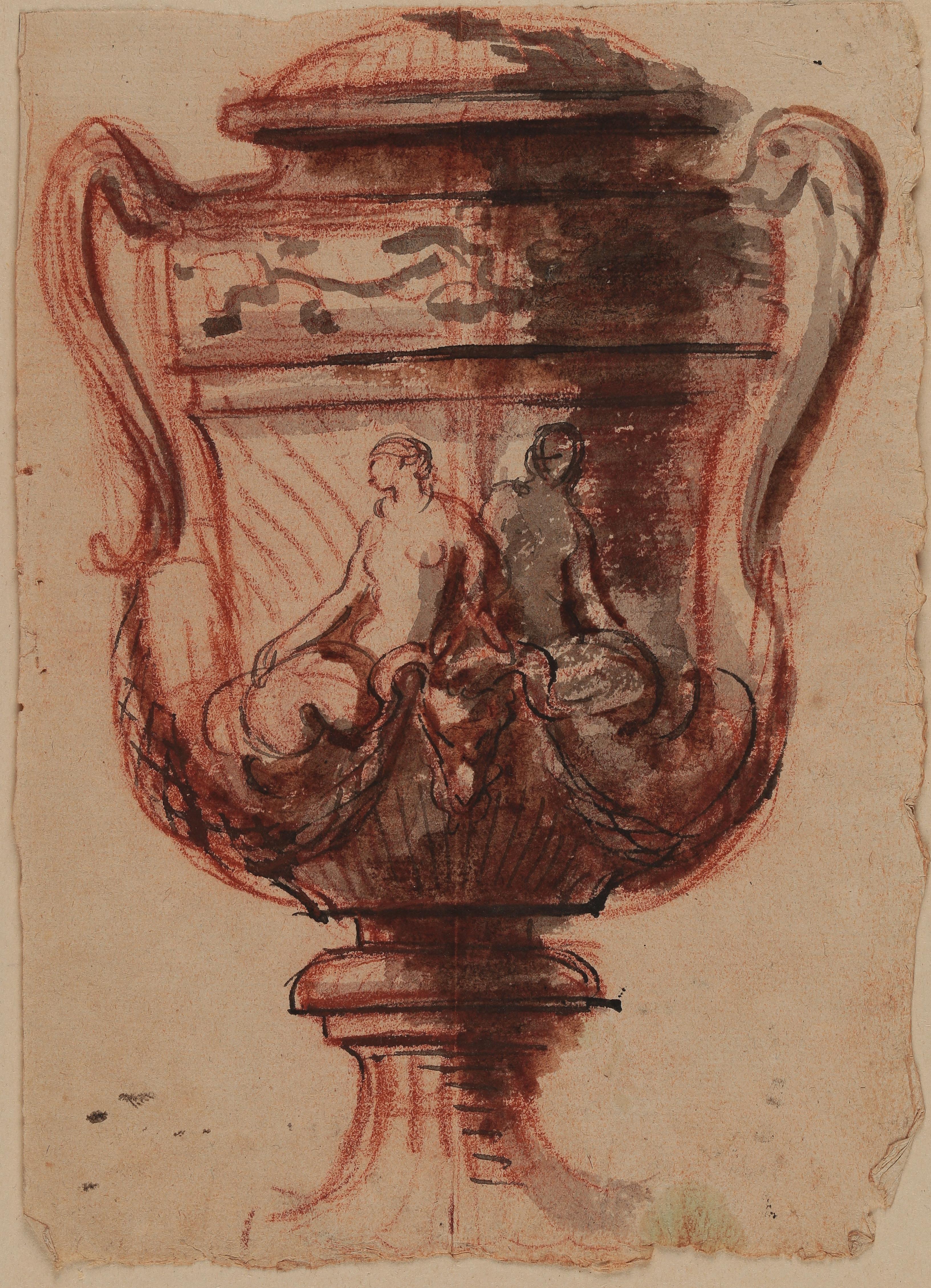 Louis-Claude Vassé, Entwurf einer Vase, Rötel, Feder mit schwarzer Tinte, grau laviert, Abklatsch von rechts nach links, Graphische Sammlung, Wallraf-Richartz-Museum & Fondation Corboud, Köln, Foto: Dieter Bongartz