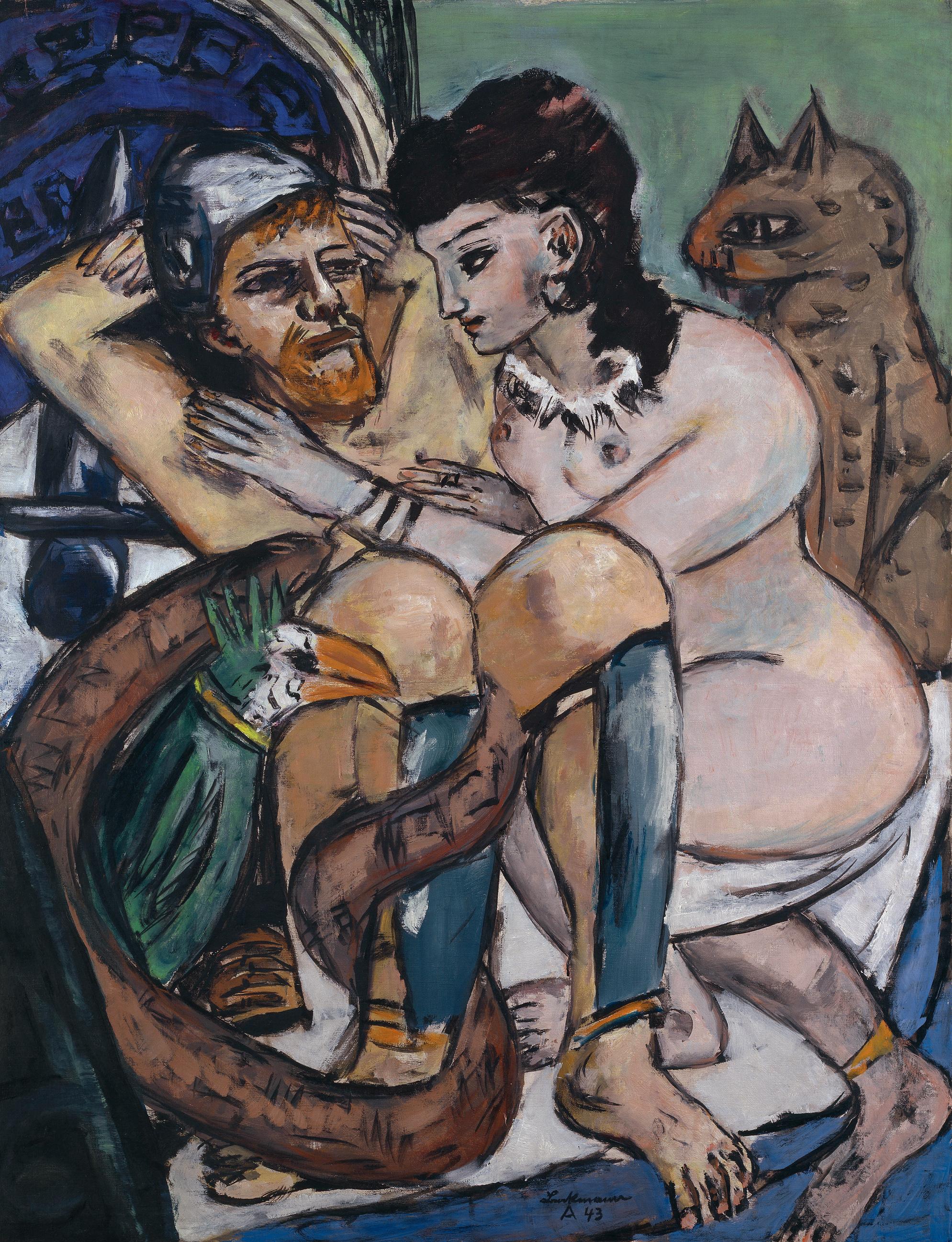 Max Beckmann (1884–1950). Odysseus und Kalypso, 1943. Öl auf Leinwand, 150 x 115,5 cm. Hamburger Kunsthalle © VG Bild-Kunst, Bonn 2020 © Hamburger Kunsthalle / bpk Foto: Elke Walford