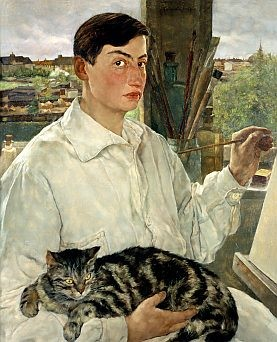 Lotte Laserstein, Selbstporträt mit Katze, 1928.New Walk Museum and Art Gallery, Leicester Reproduced courtesy of Leicester Arts and Museums Service / Bridgeman Images © VG Bild-Kunst, Bonn 2019