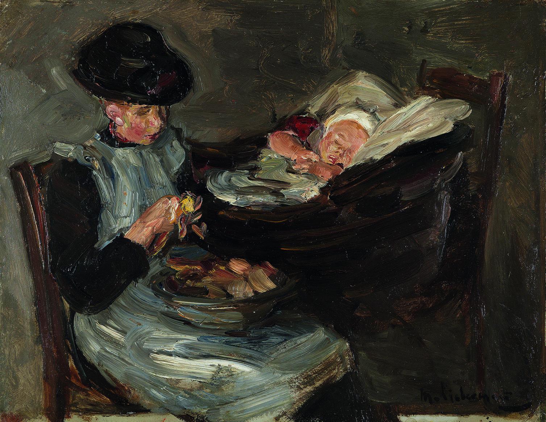 Max Liebermann (1847-1935). Mädchen aus Laren beim Kartoffelschälen neben schlafendem Kind im Korb, um 1887. Sammlung Museum Kunst der Westküste, Alkersum Föhr