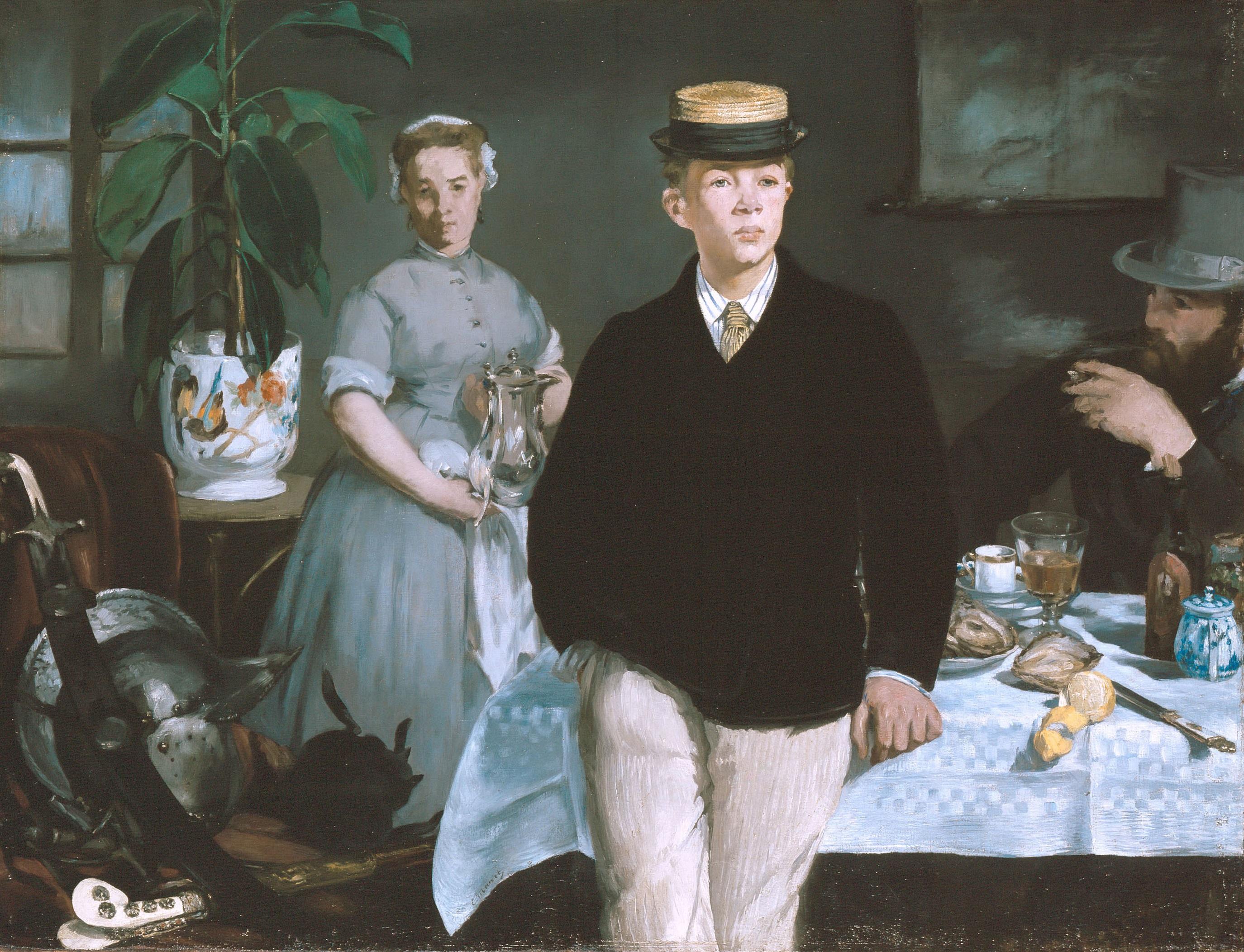 EDOUARD MANET, LE DÉJEUNER, 1868. Leinwand, 118,3 x 154,0 cm. © Bayerische Staatsgemäldesammlungen, Neue Pinakothek, München