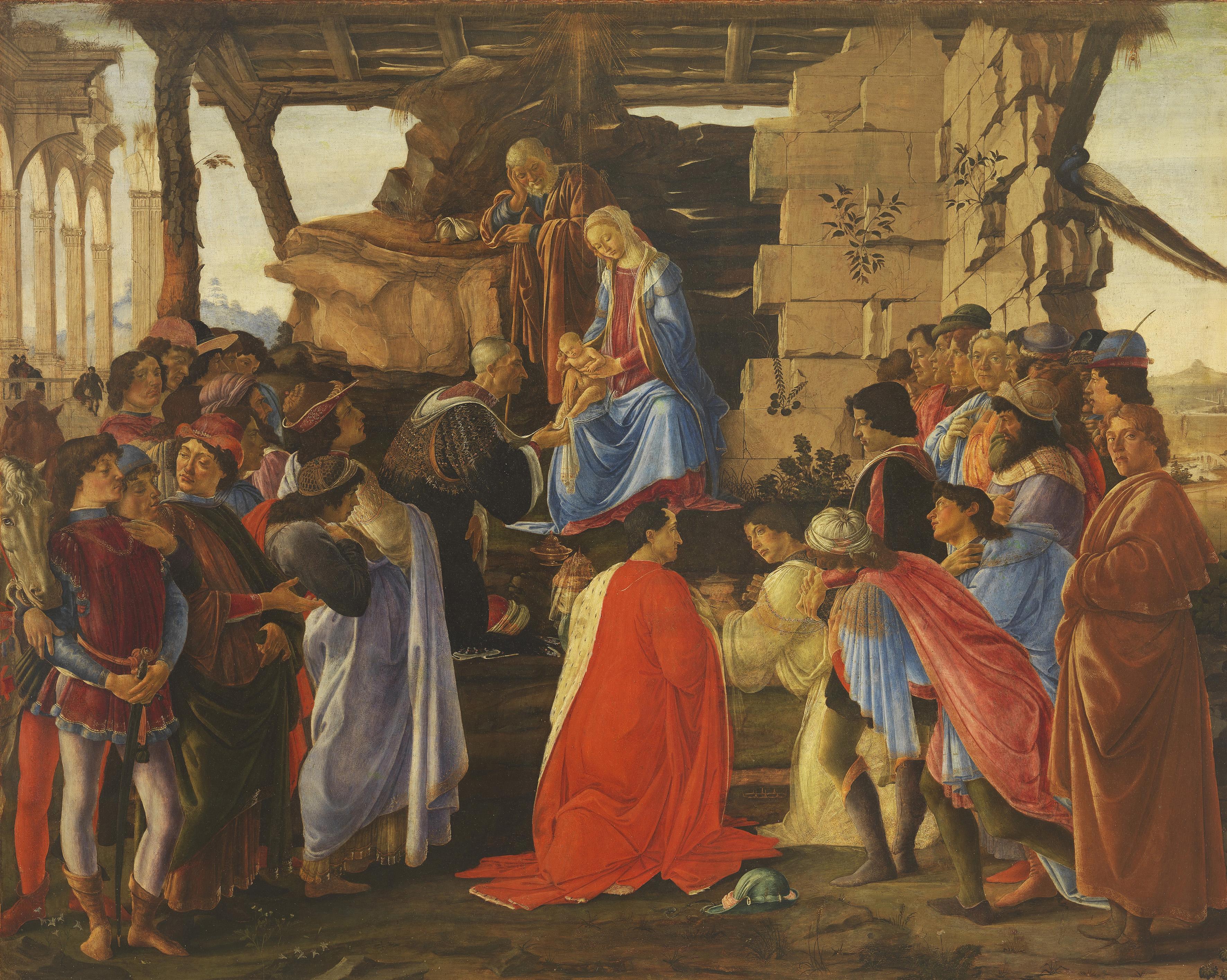 Sandro Botticelli, Anbetung des Kindes durch die Heiligen Drei Könige, um 1475. Holz