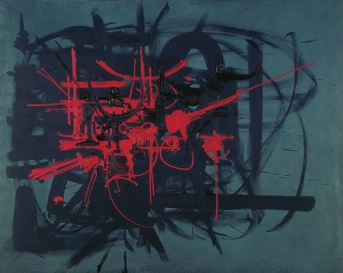Georges Mathieu, Pacte de Saint Jean d'Angély, 1951, Öl auf Leinwand, 130 x 162 cm, Sammlung Haniel © VG Bild-Kunst, Bonn