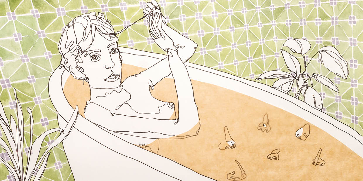 "Bianca Kennedy aus ""Portraits of taking a bath in movies"" Zeichnung, 27,7 x 55,4 cm"