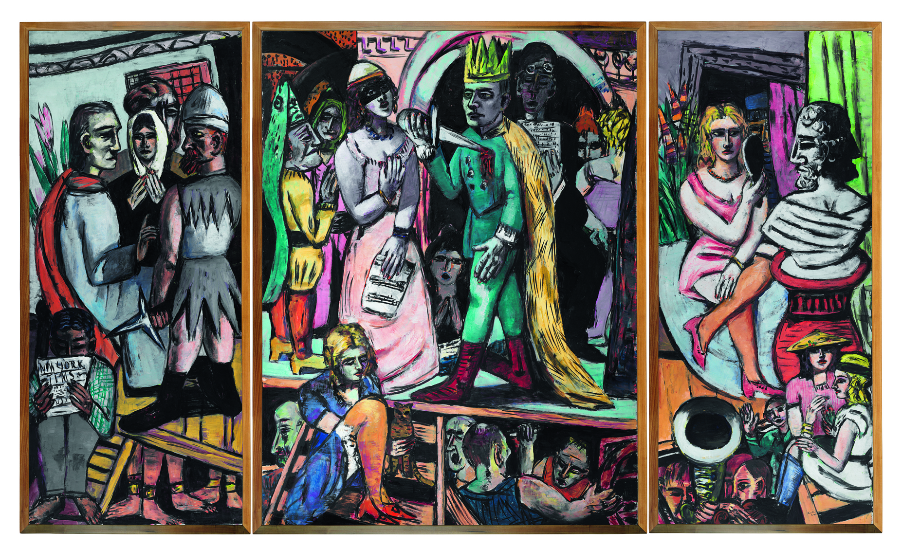 Max Beckmann: Schauspieler. Triptychon 1941/42, Harvard Art Museums/Fogg Museum, Cambridge, MA, Schenkung Lois Orswell, © VG Bild-Kunst, Bonn 2018, Photo: Imaging Department, © President and Fellows of Harvard College