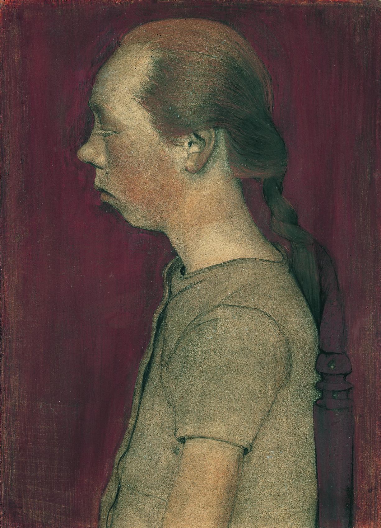 Paula Modersohn-Becker: Sitzendes Bauernmädchen im Profil nach link, 1899.