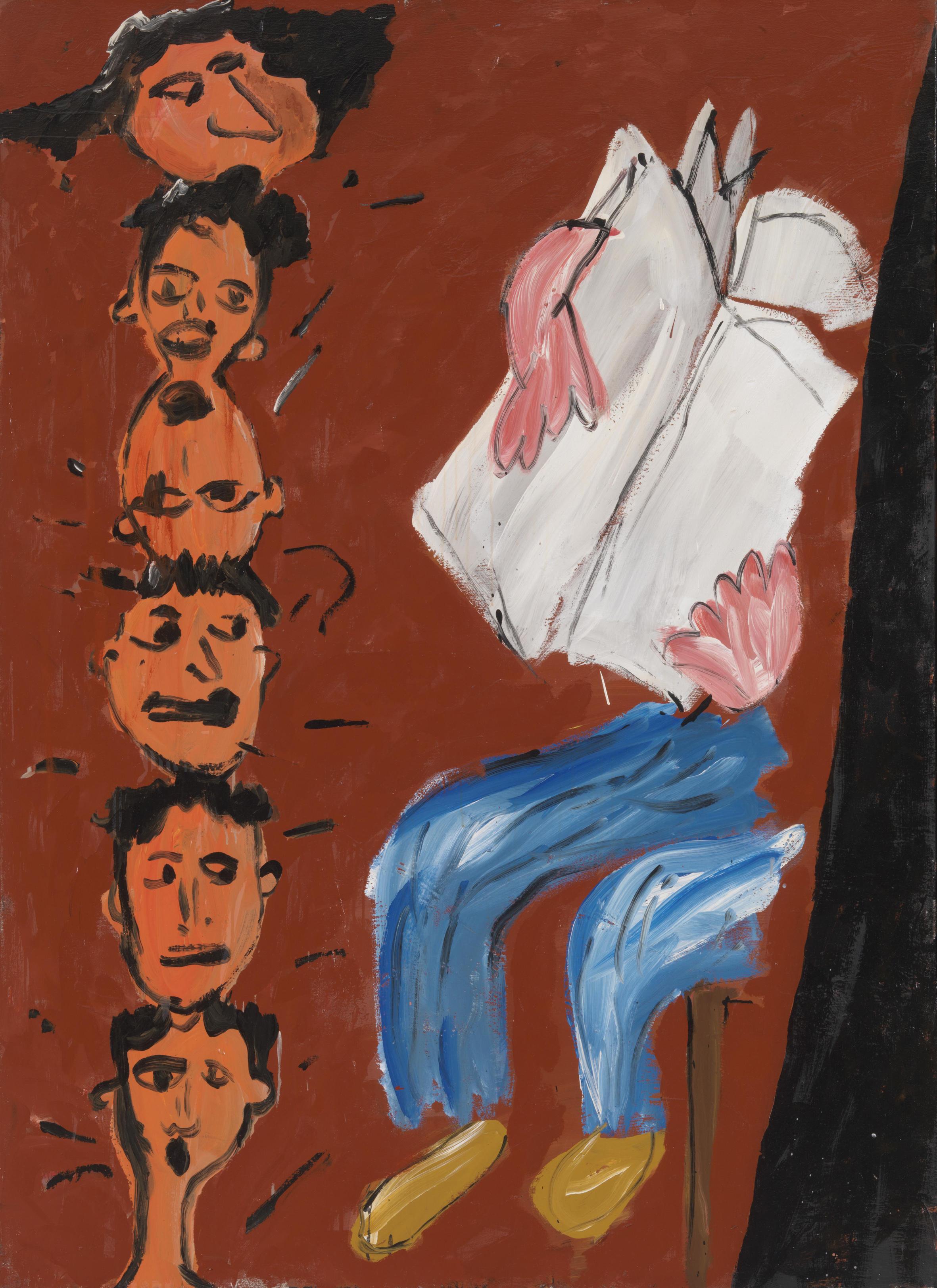 Walter Dahn (*1954): Die Mülheimer Freiheit (Zeitungsleser), 1981, Kunstharzfarbe auf Nessel, 180,5 x 130 cm Seit 2008 Dauerleihgabe der Michael und Eleonore Stoffel-Stiftung, Köln, in den Bayerischen Staatsgemäldesammlungen, München. © Walter Dahn / Courtesy Sprüth Magers