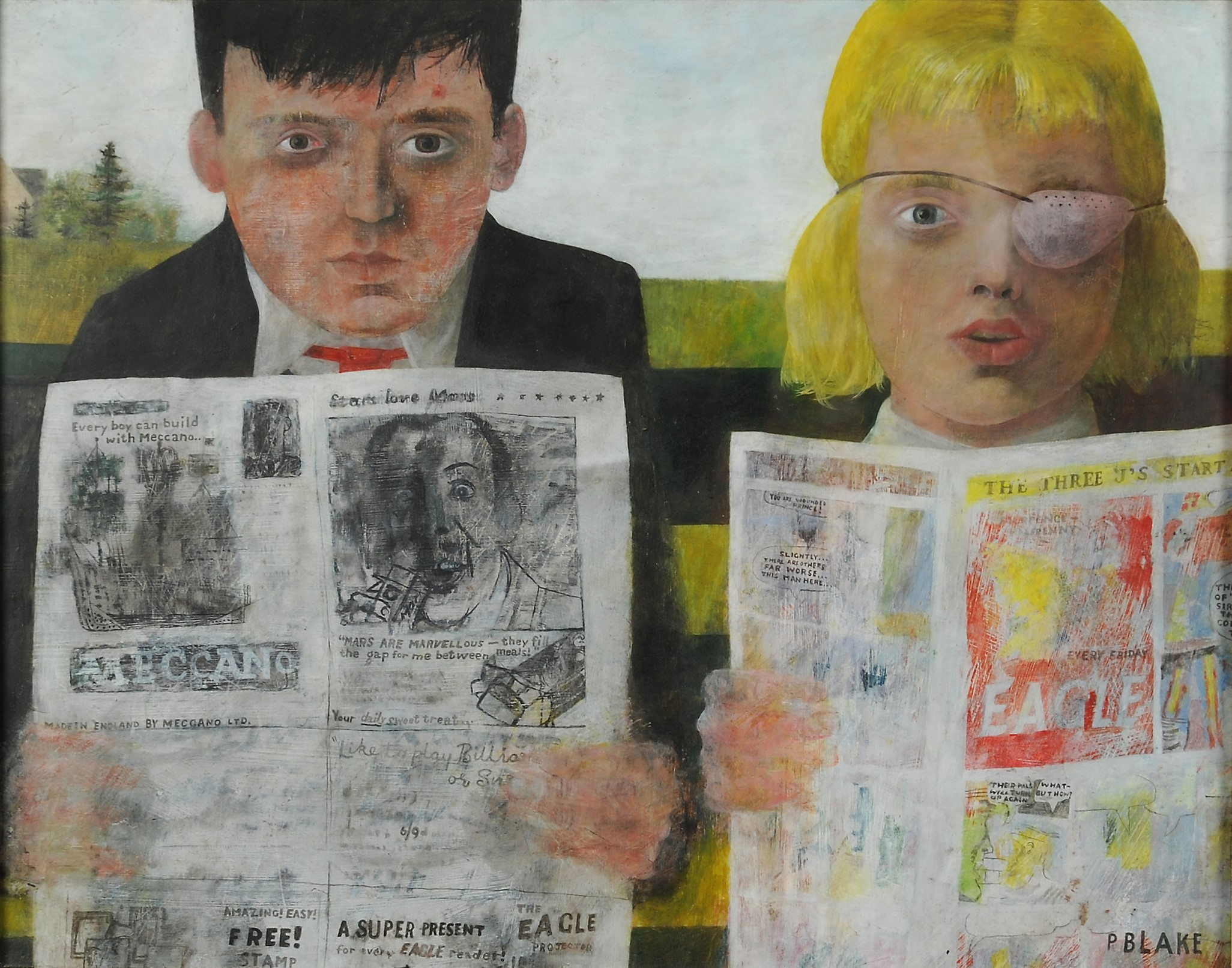 eter Blake, CHILDREN READING COMICS, 1954, Öl auf Hartfaserplatte, 36,7 x 47,1 cm, Tullie House Museum and Art Gallery Trust, Carlisle,© VG Bild-Kunst, Bonn 2016.