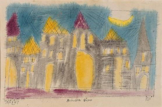 Lyonel Feininger (New York 1871 – 1956 New York), Beleuchtete Häuser, 1921, Feder, Aquarell, 20,5 x 30 cm, Museum Kunstpalast, Düsseldorf, Inv.-Nr. K 1964-47, © Foto: Horst Kolberg, Neuss, © VG Bild-Kunst, Bonn 2016