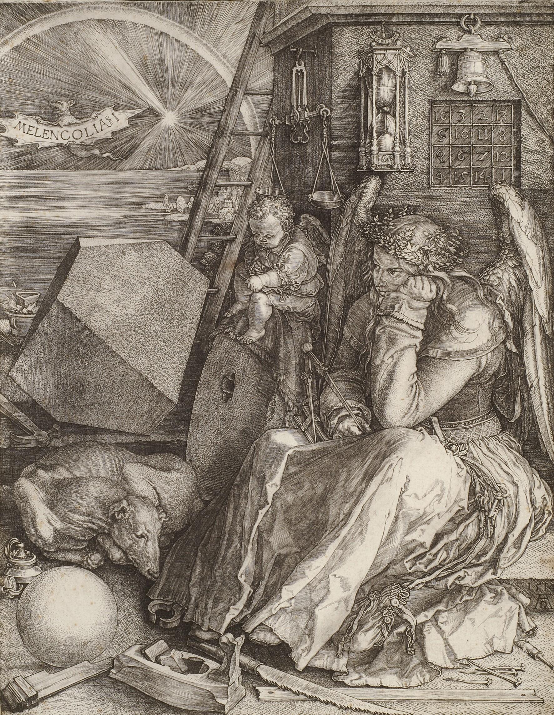 Albrecht Dürer (1471–1528): Melancolia I (Die Melancholie), 1514, Kupferstich, 24,4 x 19,2 cm. Sammlung Hegewisch in der Hamburger Kunsthalle. © Hamburger Kunsthalle/bpk. Foto: Christoph Irrgang