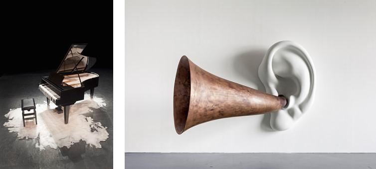 Tatiana Blass, Half of the Speech on the Ground – Deaf Piano, 2010, © Tatiana Blass, Foto: Everton Ballardin (links); John Baldessari, Beethoven's Trumpet (With Ear), opus, #133, 2007, Courtesy: Estate of John Baldessari, Marian Goodman Gallery und Sprueth Magers, Foto: Timo Ohler (rechts)