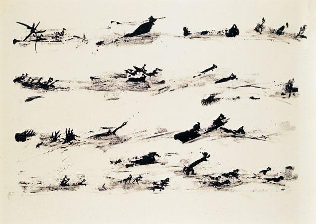 Henri Michaux, Ohne Titel, 1961 Chinatusche auf Papier, 50 x 65 cm