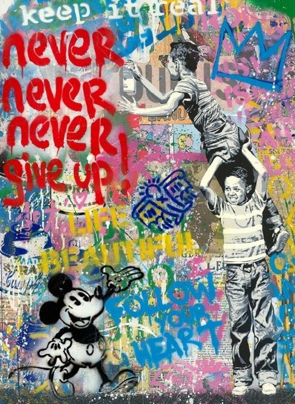Mr. Brainwash Never Give Up Unikat | FRANK FLUEGEL GALERIE