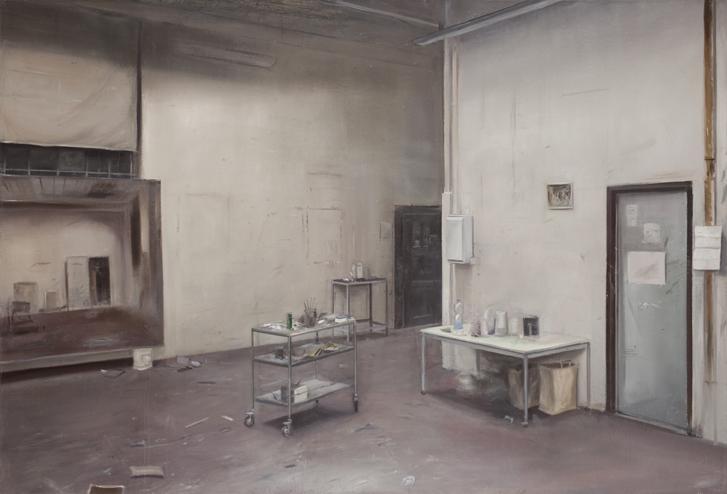 Johannes Rochhausen. Atelieransicht XIII, 2009. Öl und Eitempera auf Leinwand. 170 x 250 cm. Foto: Frank Höhle. © 2016 Johannes Rochhausen