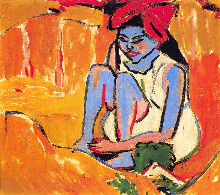 Ernst Ludwig Kirchner: Das blaue Mädchen in der Sonne, 1910, Öl auf Leinwand. Sammlung Gerlinger. Foto: Archiv Gerlinger. Kunstmuseum Moritzburg, Halle an der Saale.