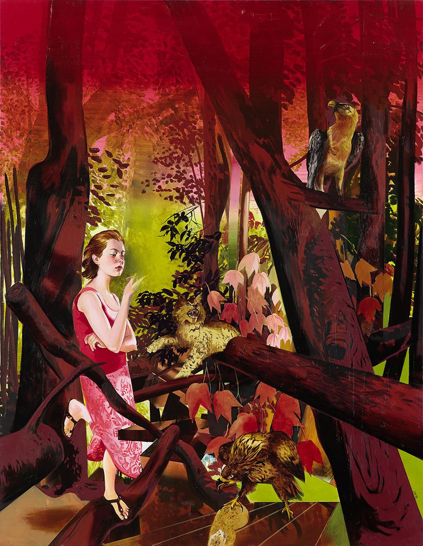 Susanne Kühn. Mädchen im Wald, 2014, Acryl auf Leinwand, 230x180cm © Bernhard Strauss