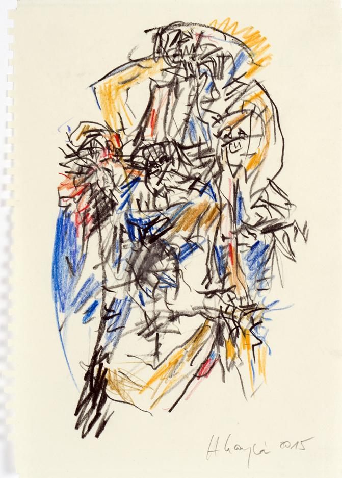 Heino Naujoks, Ohne Titel, 2015, Mischtechnik auf Papier, 25 x 17,5 cm