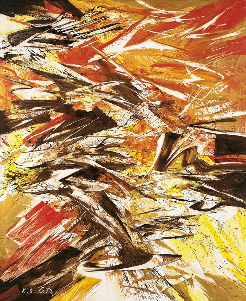 Karl Otto Götz Giverny III/2, 1987. Mischtechnik auf Leinwand 210 x 175 cm. Kunstpalast, Düsseldorf, Stiftung Sammlung Kemp © VG Bild-Kunst, Bonn, 2021 Foto: Kunstpalast - LVR-ZMB - Stefan Arendt