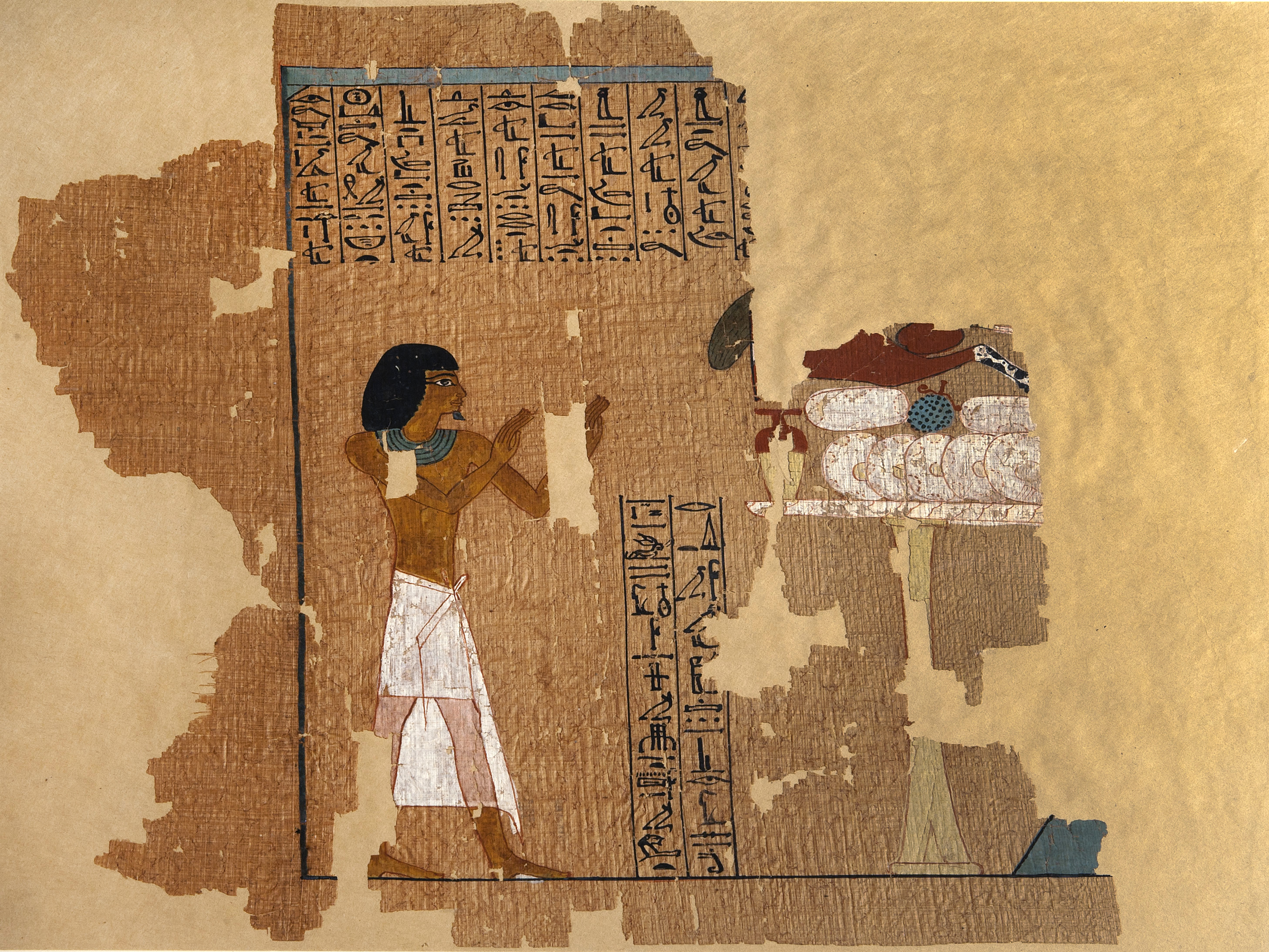 Totenbuchpapyrus des Amenemhat. Sammlung Thomas Liepsner. Wohl aus Theben. Neues Reich, 18. Dynastie, 1435-1400 v. Chr. Papyrus, beschriftet und bemalt; L. ca. 9 m. Der fast 9 Meter lange Papyrus ist eine der frühsten bekannten ägyptischen Totenbuchtexte. Er ist mit zahlreichen farbigen Vignetten von hoher Qualität illustriert. Copyright rem, Foto: Jean Christen.