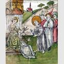 Conrad Sailer: Gallus befreit Fridiburg vom Teufel (um 1455. St. Gallen, Stiftsbibliothek). Foto: Stiftsbibliothek