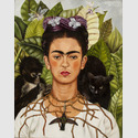 Frida Kahlo, Selbstbildnis mit Dornenhalsband, 1940, Oil on canvas mounted to board, Collection of Harry Ransom Center, The University of Texas at Austin, Nickolas Muray Collection of Modern Mexican Art © Banco de México Diego Rivera Frida Kahlo Museums Trust/VG Bild-Kunst, Bonn 2019