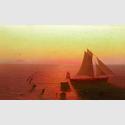 August Kopisch: Ein Schiff auf dem Meere von Delphinen umschwärmt, 1826/28. Öl auf Leinwand, 20,5 x 34 cm. © Staatliche Museen zu Berlin, Nationalgalerie / Foto: Andres Kilger