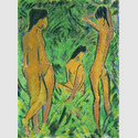 Otto Mueller, Knabe vor zwei stehenden und einem sitzenden Mädchen, 1918/1919, Leimfarbe/Rupfen. Kunsthalle Emden