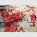 Peer Boehm - Grenzerfahrung, 2020, Aquarell, Tusche und Acryl auf Leinwand, 70 x 90 cm